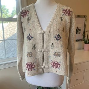 Vintage Orvis Embroidered Wool Cardigan Sweater S